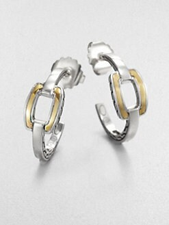 John Hardy - Sterling Silver and 22K Yellow Gold Hoop Earrings/1