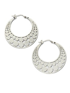 John Hardy - Sterling Silver Dot Hoop Earrings/1.4