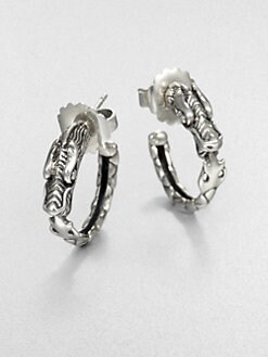 John Hardy - Sterling Silver Dragon Head Hoop Earrings/.9