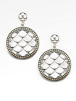 John Hardy - 18K Gold Accented Sterling Silver Disc Drop Earrings