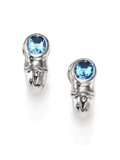 John Hardy - Swiss Blue Topaz & Sterling Silver Huggie Hoop Earrings