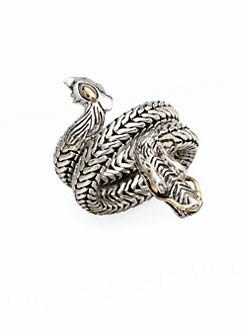 John Hardy - 18K Gold Accented Sterling Silver Dragon Coil Ring