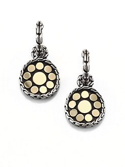 John Hardy - Sterling Silver & 18K Gold Drop Earrings