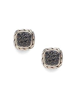 Classic Chain Black Sapphire & Sterling Silver Small Square Earrings