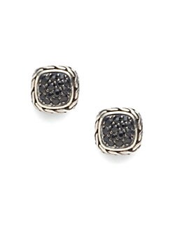 John Hardy - Black Sapphire & Sterling Silver Small Square Earrings