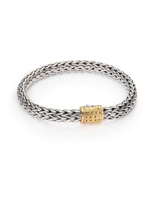 Classic Chain Medium 18K Yellow Gold & Sterling Silver Bracelet