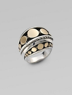 John Hardy - Sterling Silver & 18K Gold Dome Ring