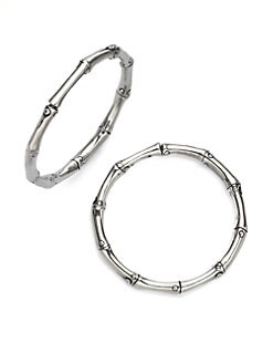 John Hardy - Sterling Silver Bamboo Hoop Earrings/1&#188&#34