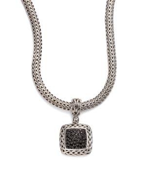 Classic Chain Black Sapphire & Sterling Silver Medium Square Pendant