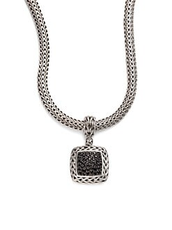 John Hardy - Black Sapphire & Sterling Silver Medium Square Enhancer