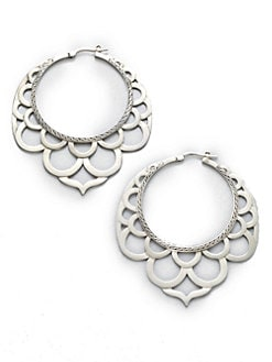 John Hardy - Sterling Silver Lace Hoop Earrings