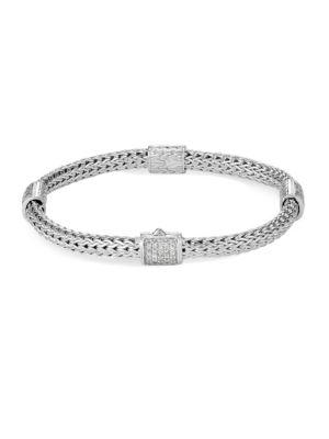 Classic Chain Diamond Pavé & Sterling Silver Four-Station Bracelet