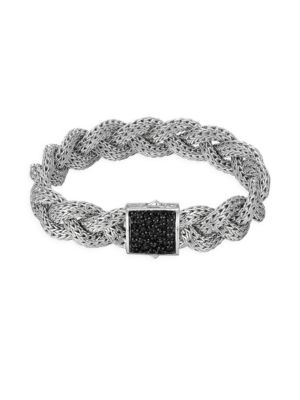 Classic Chain Black Sapphire & Sterling Silver Medium Braided Bracelet