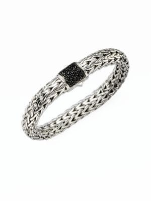 Classic Chain Black Sapphire & Sterling Silver Large Bracelet