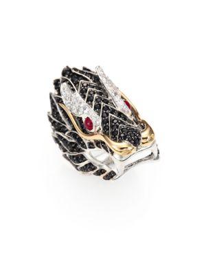 Naga Black Sapphire, Ruby, 18K Yellow Gold & Sterling Silver Dragon Ring