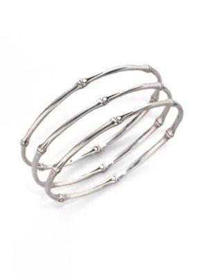 Bamboo Sterling Silver Slim Bangle Bracelet Set