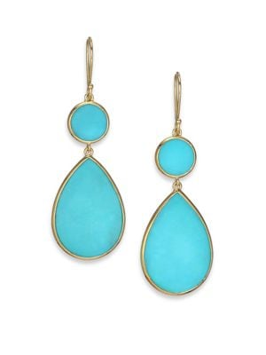 Polished Rock Candy Turquoise & 18K Yellow Gold Snowman Drop Earrings