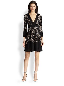 Diane von Furstenberg - Fern Chiffon-Paneled Lace Dress