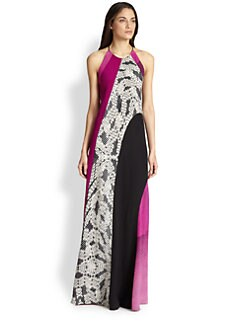 Diane von Furstenberg - Naomi Silk Mixed-Print Maxi Dress