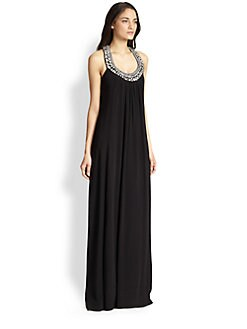 Diane von Furstenberg - Willema Silk Embellished-Neck Maxi Dress