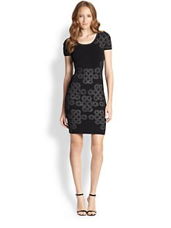 Diane von Furstenberg - Glittered-Pattern Knit Body-Con Dress