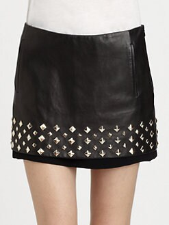Diane von Furstenberg - Elley Studded Leather Mini Skirt