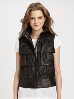 Diane von Furstenberg - Cupcake Leather Bomber Vest