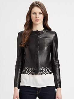 Diane von Furstenberg - Merryl Laser-Cut Leather Jacket