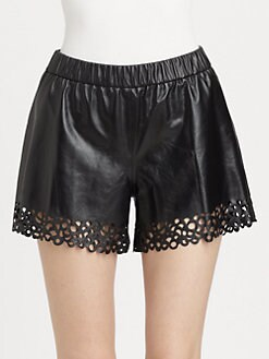 Diane von Furstenberg - Andi Laser-Cut Leather Shorts
