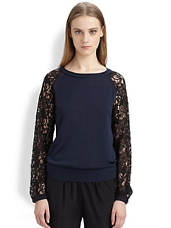 Diane von Furstenberg - Avani Lace-Trim Colorblock Sweater