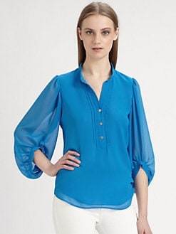 Diane von Furstenberg - Syrah Pintucked Blouse