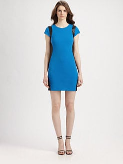 Diane von Furstenberg - Pele Leather-Trim Dress