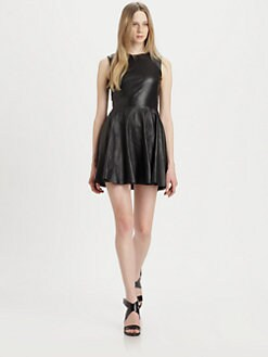 Diane von Furstenberg - Jeannie Fit-and-Flare Leather Combo Dress