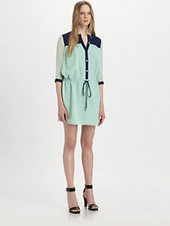 Diane von Furstenberg - Marcy Silk Colorblock Shirtdress