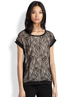 Diane von Furstenberg - Cordelia Floral Chantilly Lace Top