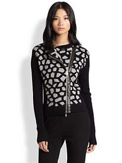 Diane von Furstenberg - Harper Leather-Trim Sweater Jacket