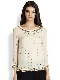 Diane von Furstenberg - Sylvia Hot Fix Studded Silk Blouse