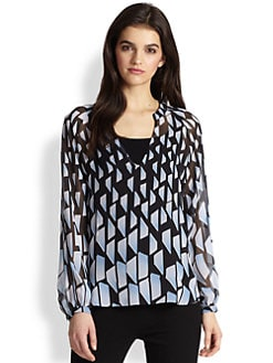 Diane von Furstenberg - Maiko Geometric Silk Chiffon Blouse