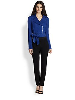 Diane von Furstenberg - Kazara Cropped Suede Moto Jacket