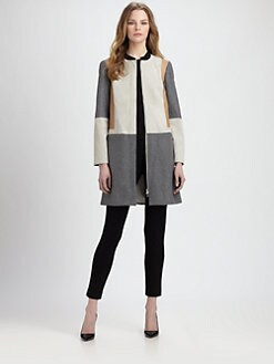 Diane von Furstenberg - Tanaquil Leather-Panel Coat