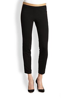 Diane von Furstenberg - Leandra Leather-Trimmed Skinny Ankle Pants