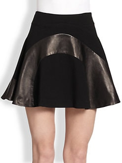 Diane von Furstenberg - Tristana Leather Combo Fit-&-Flare Skirt