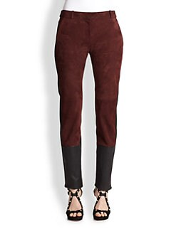 Diane von Furstenberg - Cecily Suede, Leather & Crepe Straight-Leg Pants