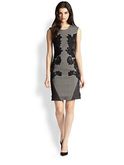 Diane von Furstenberg - Pentra Lace-Paneled Tweed Dress