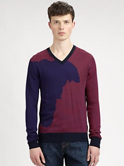 Versace Collection - Multi-Stripe V-Neck Pullover