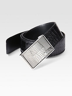 Versace Collection - Croc-Print Leather Belt