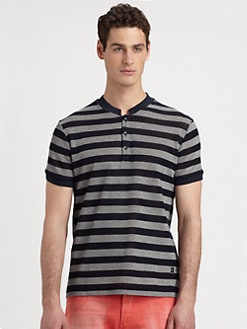 Versace Collection - Wide-Stripe Mesh Henley