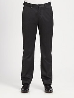 Versace Collection - Leather-Detail Dress Pants