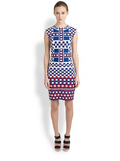 Alexander McQueen - Checker-Print Knit Dress