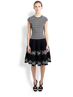 Alexander McQueen - Eyelet-Print Full-Skirted Dress